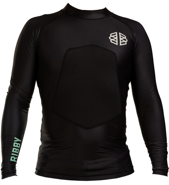 Ribby - Long Sleeve Black padded rash guard