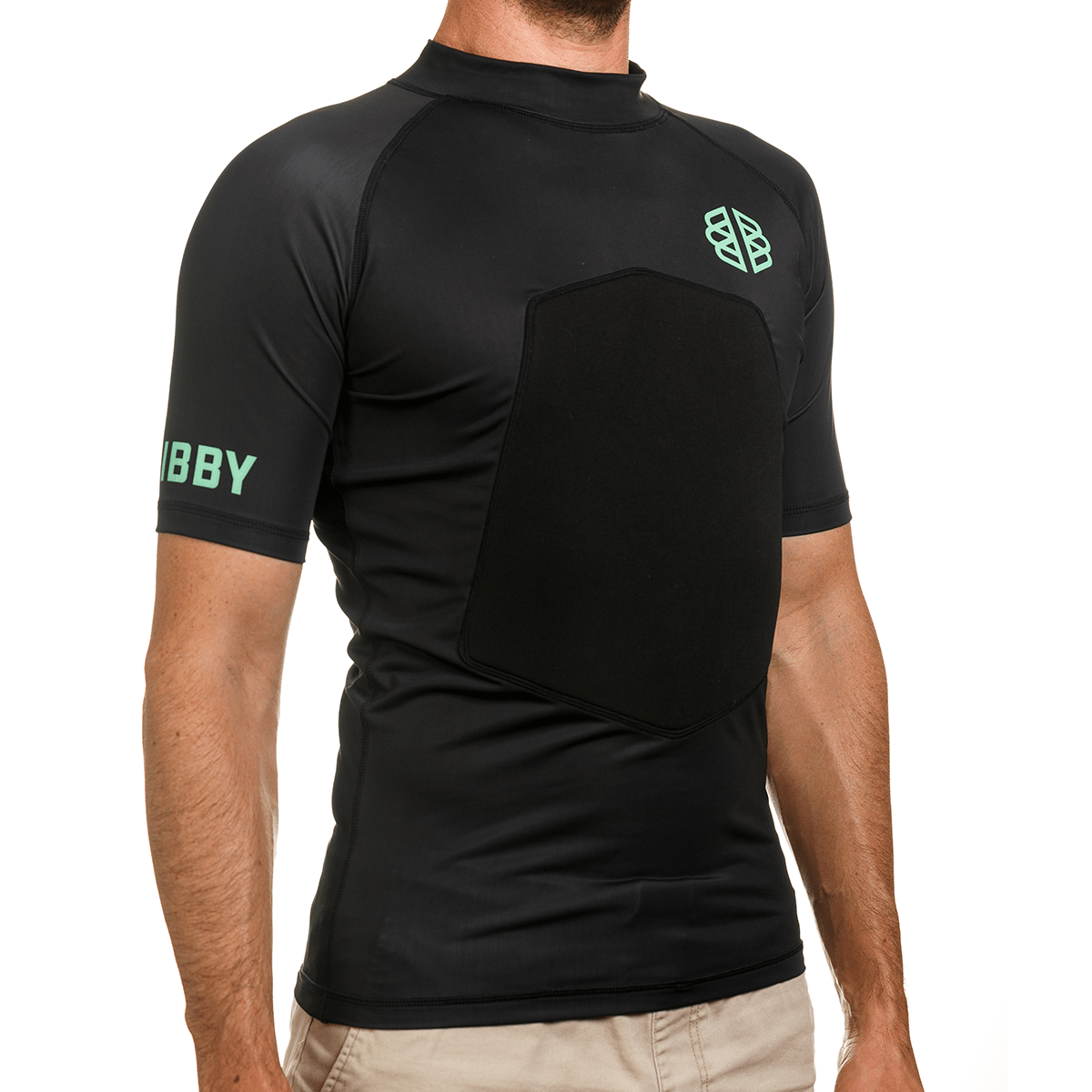 Ribby - Short Sleeve Black padded rash guard