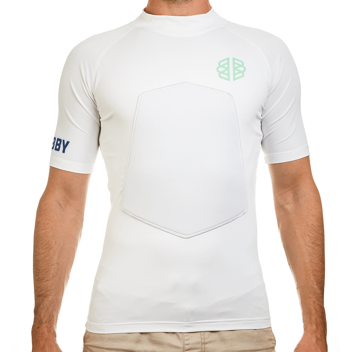 Ribby - Short Sleeve white padded rash guard