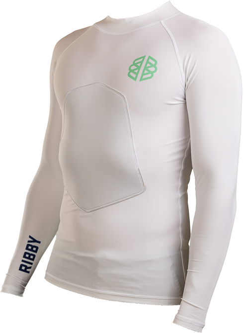 Ribby - Long Sleeve White padded rash guard