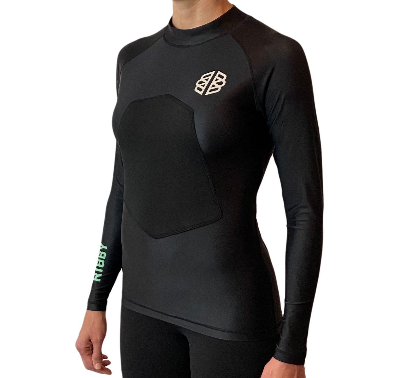 Ribby - Women's Long Sleeve Black padded rash guard
